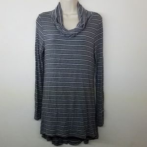 Cuddl Duds Cowl Neck Striped Long Sleeve Top
